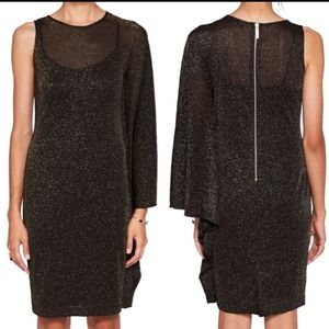TED BAKER Monyca Draped One Shoulder Sparkly Dress